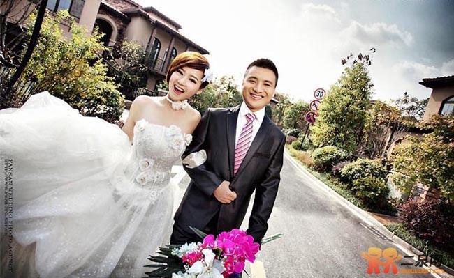 短发新娘婚纱照-侬侬婚纱摄影