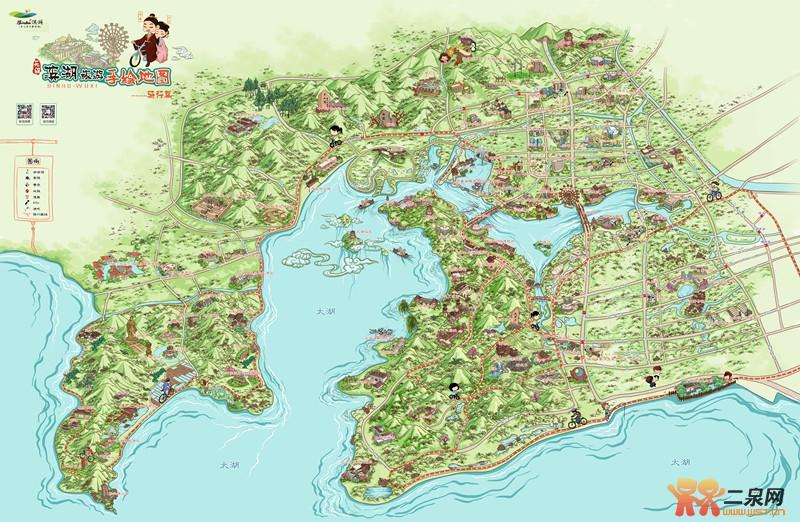 滨湖旅游手绘地图