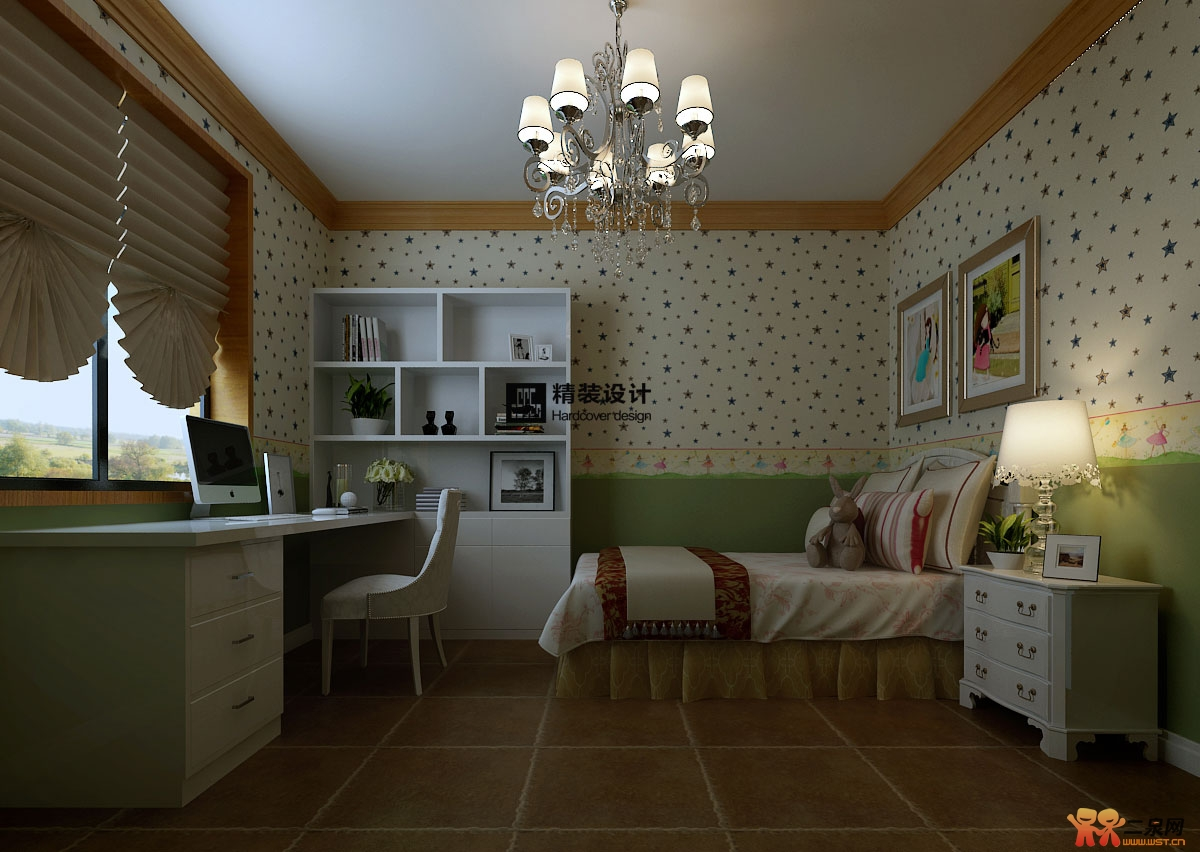 设计效果图  男孩儿童房 女孩儿儿童房 女孩儿房间采用白底暗的壁纸