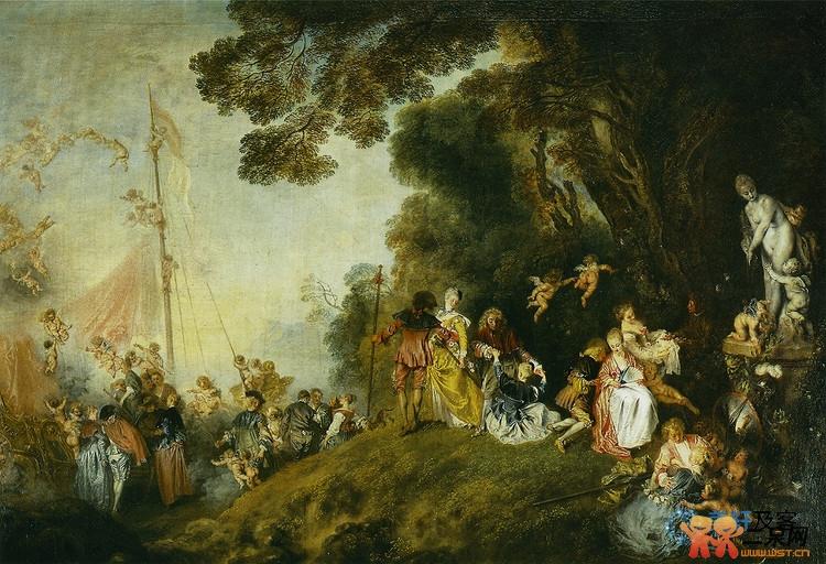 洛可可的风景画是田园诗式的,多数描写贵族男男女女在悠闲地游山玩水.