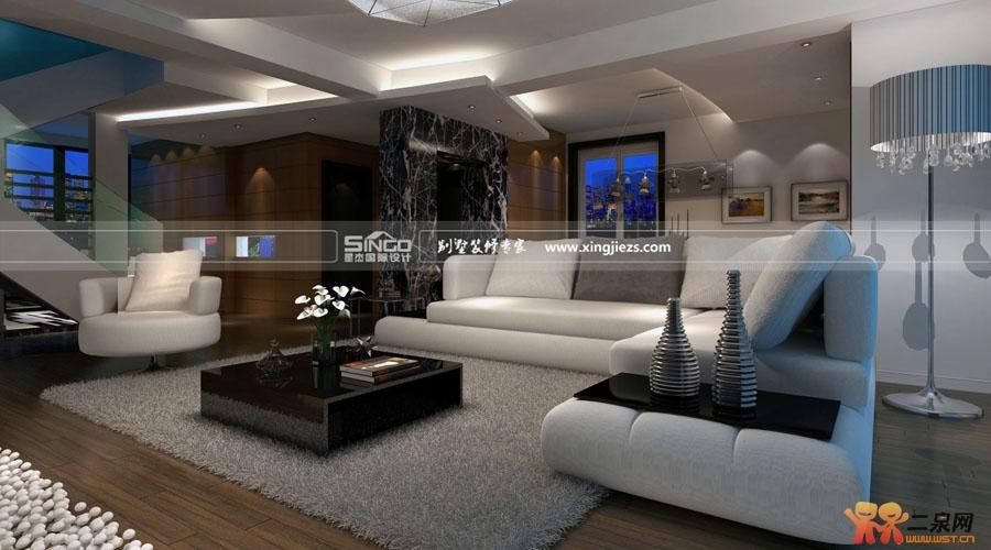 极简风格别墅设计-客厅装修效果图