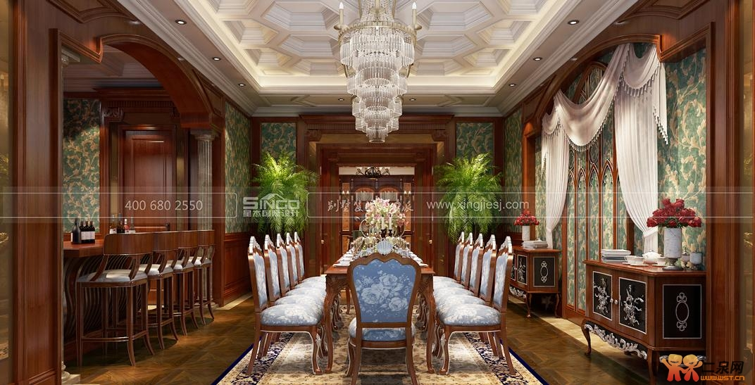 欧式风格尽显高格调  大厅的设计如同传统的欧式古堡