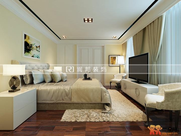 """本案色调上采用暖色调,营造出温馨怡人的氛围。客厅背景与沙发、茶几的深色相呼应,更能彰显主人公成熟稳重的气息。主卧简洁而不简单,色彩的对比,亦能给人舒适的感觉,从忙碌而又喧嚣的生活中抽离出来,让身心得到前所未有的放松。主卧书房的设计更能给家带来更多的体贴与乐趣。或许在夜里看见爱人在辛勤的工作,沏上一杯热茶,生活从此刻起有了新的意义。 【客厅装修效果图】 [[img AID=""""2329308"""" src=""""http://simg."""