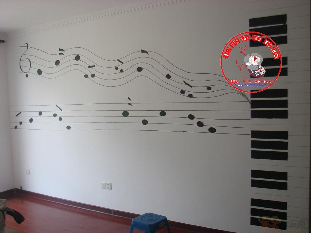 电视背景墙手绘-音符五线谱